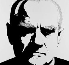 Carlo Gajani - Alberto Moravia, acrilico su tela 1975
