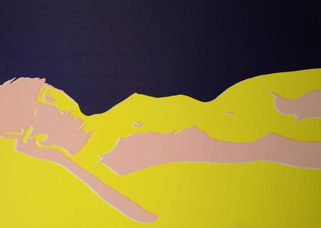 Carlo Gajani - Donna sdraiata, serigrafia 1966