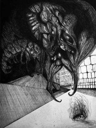 Carlo Gajani - Nasce la colpa, acquaforte 1963